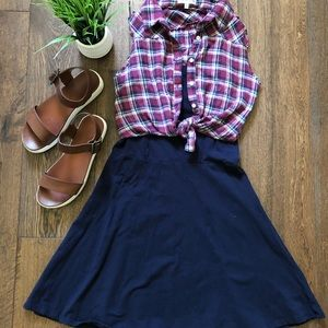 Cute Blue Dress with a built-in vest